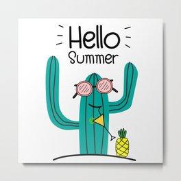 Fun Cactus And Pineapple Metal Print