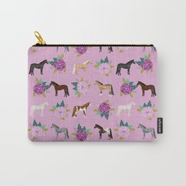 horse, floral, florals, flowers, pink, flowers, bloom, horse, horse bedding, horse blanket, horse, p Carry-All Pouch