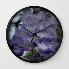 Purple and Violet Wisteria Blossom Wall Clock