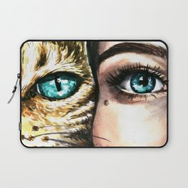 Blue eyes of a woman and a cat Laptop Sleeve