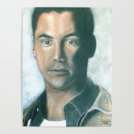 Keanu Reeves portrait with dry pastels Poster