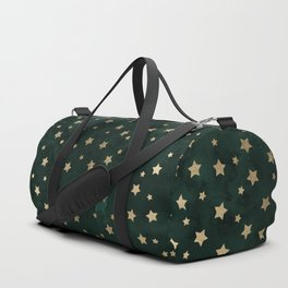 Modern gold christmas stars geometric pattern green watercolor Duffle Bag