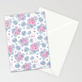 Tropical pink blue watercolor flamingo floral Stationery Cards