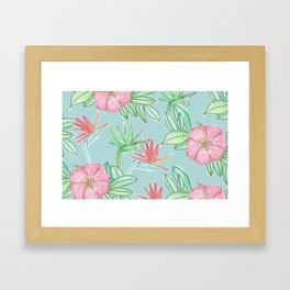 Tropical Flowers Soft Blue Background Framed Art Print