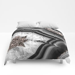 Gray Black White Agate with Rose Gold Glitter #2 #gem #decor #art #society6 Comforters