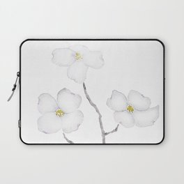 white dogwood flower watercolor Laptop Sleeve