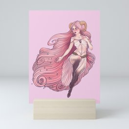 Aries Zodiac Sign - Pink Mini Art Print
