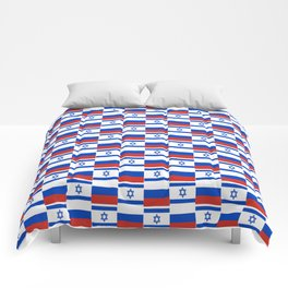 Mix of flag : israel and Russia Comforters