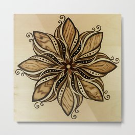 Happiness and peacefull mandala of wood Metal Print