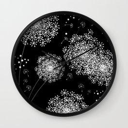DANDELION SNOWFLAKE BLACK Wall Clock