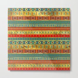 Colorful African Ethnic Tribal Pattern Metal Print
