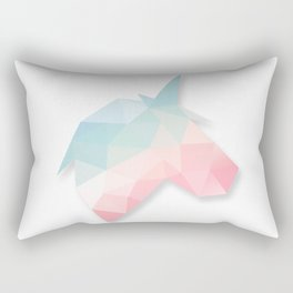 Unicorn Cute Gradient Pink, Blue, Green, Yellow Pastel Geometry Polygon Design Illustration Rectangular Pillow