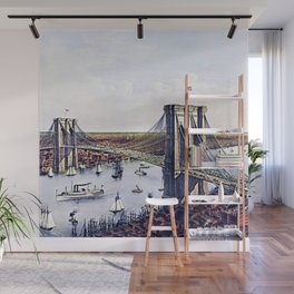 Vintage 19th Century East River Suspension Bridge - Brooklyn Bridge Lithograph Wall Mural