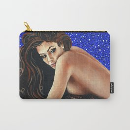Starry Night Female Figure Nude Mermaid Bather Swimmer Beach Sandy Blue Brown Beautiful Woman Gift Carry-All Pouch