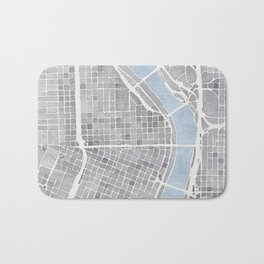 Portland Oregon watercolor city map art Bath Mat