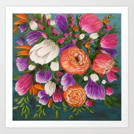 Sea of Flowers, Bright Floral Painting, Orange, Purple, White Flowers Art Print