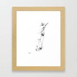 horse head sketch Framed Art Print