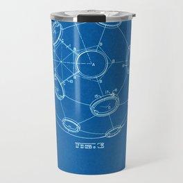 1965 Patent - Buckminster Fuller - Geodesic Structure - Blueprint Style Travel Mug