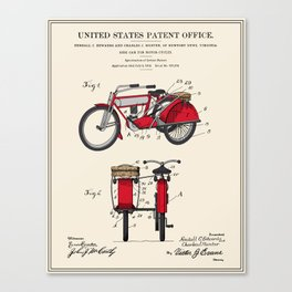 Motorcycle Sidecar Patent 1912 Canvas Print