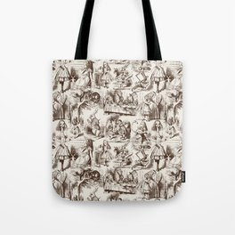 Alice in Wonderland | Toile de Jouy | Brown and Beige Tote Bag
