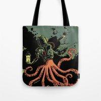 scuba Tote Bags featuring tentacle scuba by Sarah Baslaim