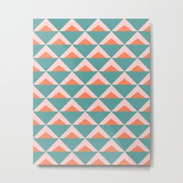 Colorful Triangle Pattern in Teal, Pink, and Orange Metal Print