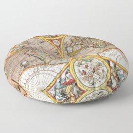 Vintage World map Floor Pillow