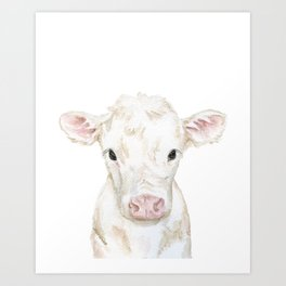 Baby White Cow Calf Watercolor Farm Animal Art Print