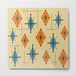 Mid Century Modern Starburst Diamonds Orange And Blue Metal Print