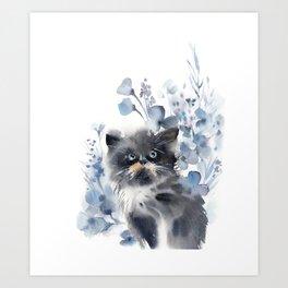 Kitten and blue florals Art Print