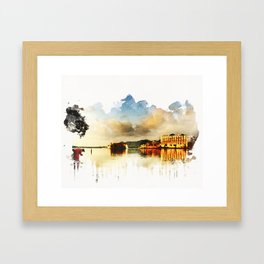 Indian watercolor impression with lat and palace in Udaipur, Rajasthan Framed Art Print