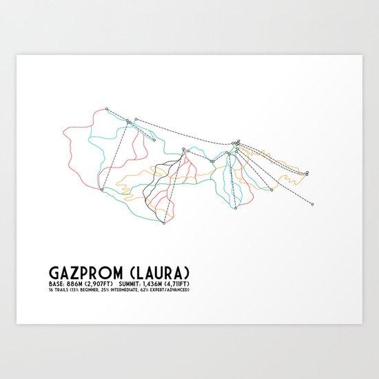 Gazprom (Laura) Mountain Resort, Sochi, Russia - European Edition - Minimalist Trail Art Art Print