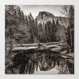 Yosemite Half Dome Mountain Landscape Reflection - Sepia Square Format Canvas Print
