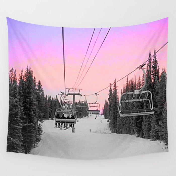 Ski Lift Sunset Shot on iPhone 4 Wall Tapestry
