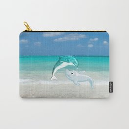 Tropical turquoise sand beach cute nautical animals Carry-All Pouch