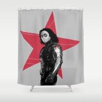 derek hale Shower Curtains featuring Winter S. Derek  by Finduilas