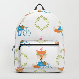 Girl Fox with Bike Pattern Backpack