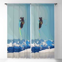 Man on skis, sky jumping, with mountains and blue sky on the backgound Blackout Curtain