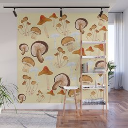 mushroom pattern watercolor painting Wall Mural