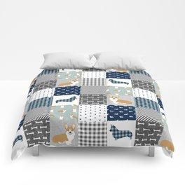 Corgi Patchwork Print - navy, dog, buffalo plaid, plaid, mens corgi dog Comforters