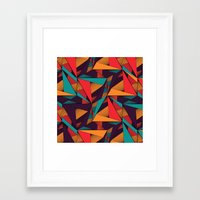 arya Framed Art Prints featuring Hexagonal Lines and Triangles by Hinal Arya