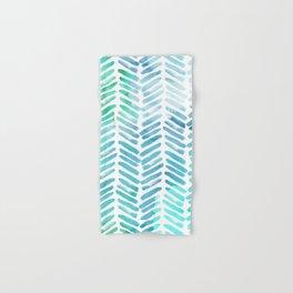 Handpainted Chevron pattern - light green and aqua - stripes Hand & Bath Towel