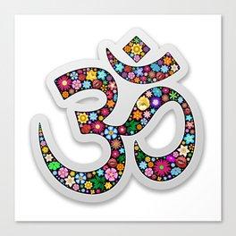 Namaste Floral Yoga Symbol Canvas Print