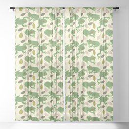 Fun Frogs with Leaves from Trees Sheer Curtain