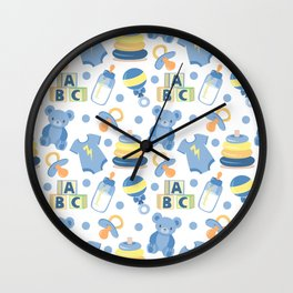Baby Boy Pattern Wall Clock