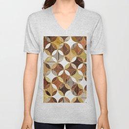 Wood and Gold Geometric Unisex V-Neck