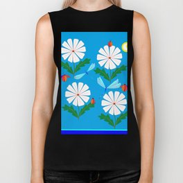 White Spring Daisies, Dragonflies, Lady Bugs and the Sun Biker Tank