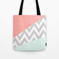 mint & coral chevron block TEXTURIZED Tote Bag