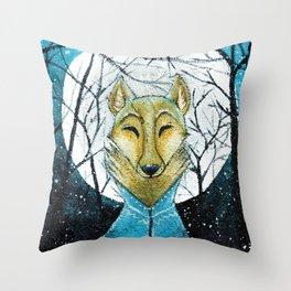 Lobo de Luna Throw Pillow