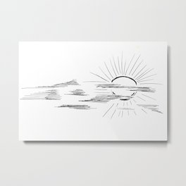 Graphic drawing. The sun in clouds. Metal Print